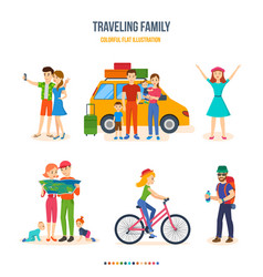 Traveling family joint trips bike tour hiking vector