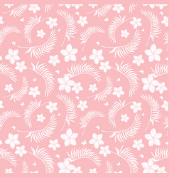 Tropical pink flowers seamless repeat pattern vector