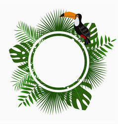 tropical poster with exotic palm leaves and toucan vector image