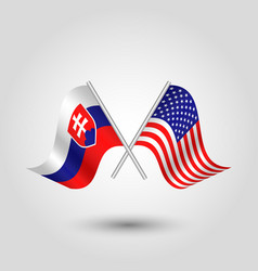 Two crossed slovak and american flags vector