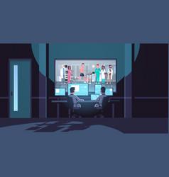 Two men looking at monitors behind glass doctors vector