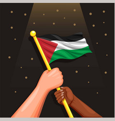 two people in diversity race hold palestine flag vector image