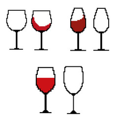 wine glasses in the style of pixel art vector image