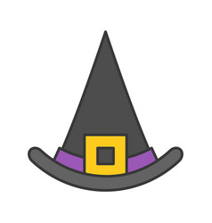 Witch hat halloween related icon filled outline vector