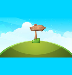 wood arrows cartoon landscape vector image