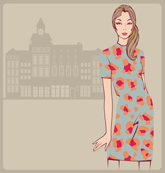 Young girl leopard dress vector