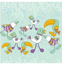 bird and numbers vector image vector image