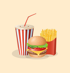 burger with french fries and soda cup - cute vector image