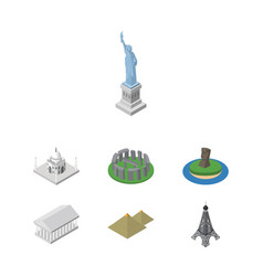isometric architecture set of athens new york vector image