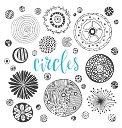 Collection of hand drawn circle textures Isolated vector image vector image