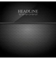 Dark metallic perforated texture with glass banner vector image vector image