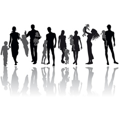 family silhouettes vector image vector image