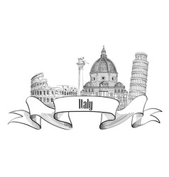 italy architectural sign travel italy label vector image vector image