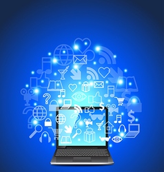 Laptop and network icons on blue background vector image vector image