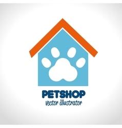 pet shop concept house paw icon vector image vector image
