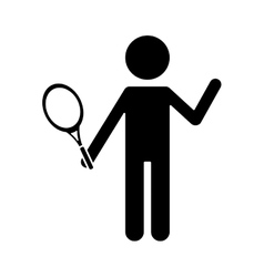 silhouette character player tennis and racket vector image vector image