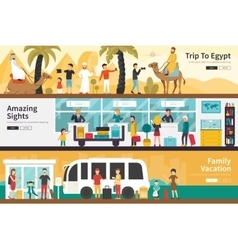 Trip to egypt amazing sights family vacation flat vector