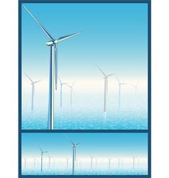 wind turbines in the sea vector image vector image