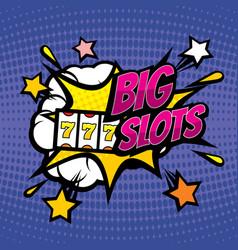 big slots retro casino gambling background vector image vector image