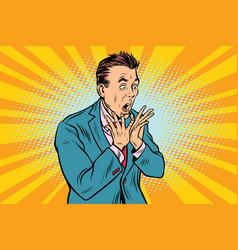 businessman scared shock reaction vector image