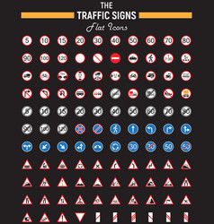 traffic signs flat icon set road symbols vector image vector image