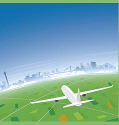 busan skyline flight destination vector image vector image