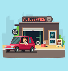 car service station or repair garage with happy vector image vector image