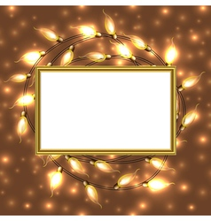 Colorful glowing christmas lights with frame and vector