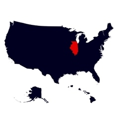 Illinois State in the United States map vector image vector image