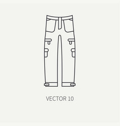 line flat hunt and camping icon khaki pants vector image