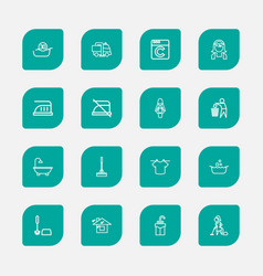 set of 16 editable cleanup outline icons includes vector image vector image