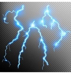 Set of isolated realistic lightnings EPS 10 vector image