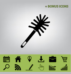 toilet brush doodle black icon at gray vector image