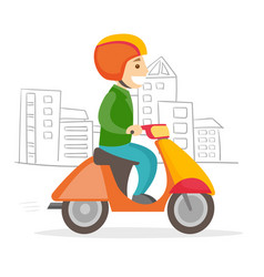 a man driving motorcycle vector image