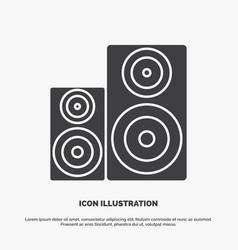 Audio hifi monitor speaker studio icon glyph gray vector