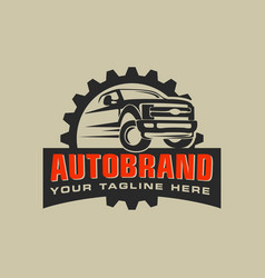 auto repair service logo with badge emblem vector image