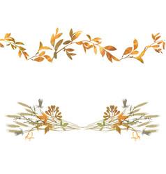 Autumn seamless border and floral composition vector