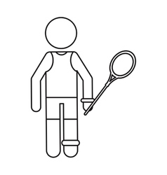 Badminton player racket ouline vector