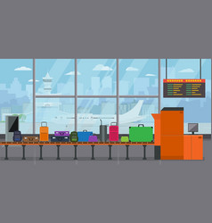 baggage carousel in airport terminal with vector image