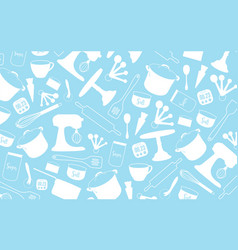 Bakery tool background kitchenware on light blue vector