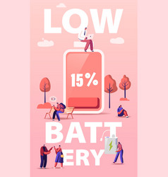 battery low level concept people characters vector image
