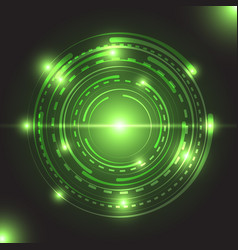 Beautiful green glowing circle light vector