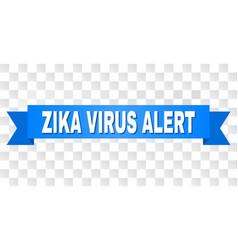 blue ribbon with zika virus alert caption vector image