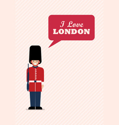 british army soldier with word i love london vector image