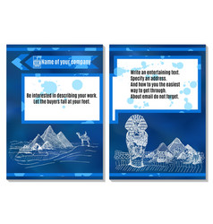 Brochure sands ancient egypt on blue background vector