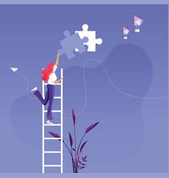 Businesswoman installing final piece puzzle vector