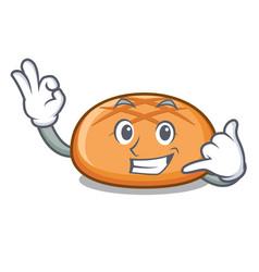 Call me hamburger bun mascot cartoon vector