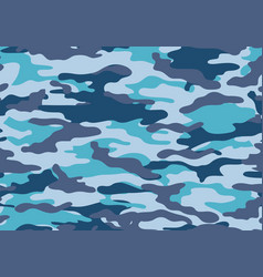 Camouflage pattern background blue color style vector