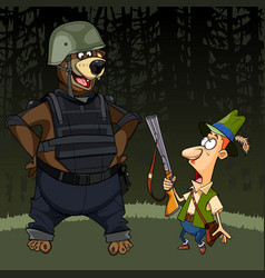 Cartoon hunter with a gun was afraid of a bear vector
