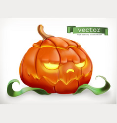 carved pumpkin happy halloween 3d icon vector image